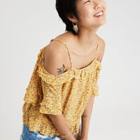 AE COLD SHOULDER PRINTED TOP, Yellow