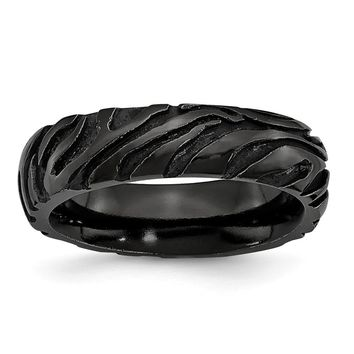 Men's Titanium Black Ti Safari Domed and Etched Wedding Band Ring