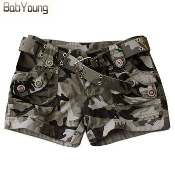 Shorts Women Military Camouflage Print Summer Style Outdoor Short Slim Pantaloon Femme Rivet Sport Trousers S~4XL