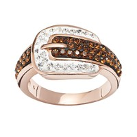 Crystal 14k Rose Gold Over Silver-Plated Buckle Ring (White)