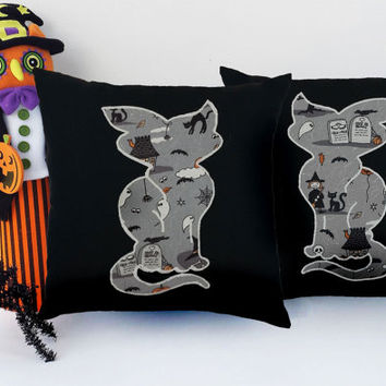 Set of 2 Halloween Print Appliqued Cat pillows - Sham Closure, 100% cotton, 14x14 inches or 16x16 inches, Black Pillows, White Stitching