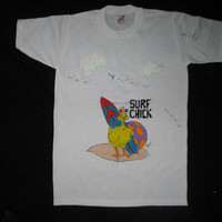 Tee Shirt Chicken with Surfboard, Surf Chick, White, Short Sleeves, Jerzees 14-16 Large