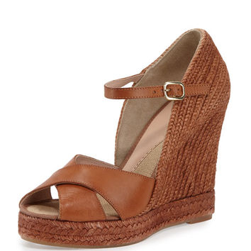 Andr? Assous Giulia Leather Espadrille Wedge Sandal, Cuero