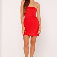 Missguided - Bandeau A-Line Skater Dress Red