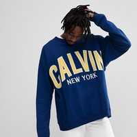 Calvin Klein Jeans Sweatshirt With Calvin Applique at asos.com