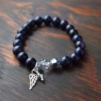 Blue Goldstone Bracelet. Women's Bracelet. Angel Wing Bracelet. Women's Swarovski Bracelet. Women's Yoga Bracelet. Lotus and Lava Bracelet.