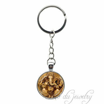 Vintage Ganesha Statue Key Chain Hindu Ganapati Vinayaka God Key Ring Vintage Lord Ganesha Indian Buddhism Jewelry for Women Men