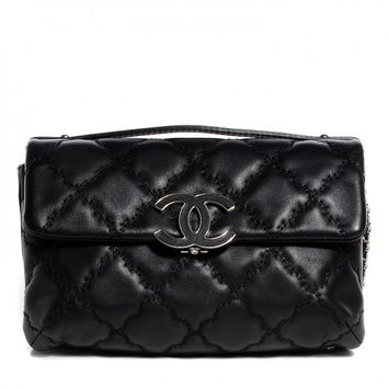 CHANEL Calfskin Quilted Double Stitch Hamptons Clutch With Chain Black