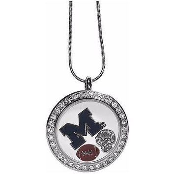 "Michigan Wolverines Locket Necklace Floating Charms Silver Tone 18"" Snak ..."