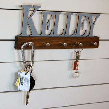 Personalized Name Key Holder Modern Block Font