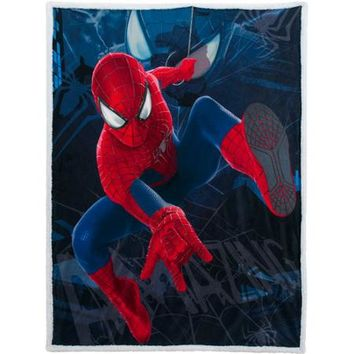 "Marvel The Amazing Spider-Man 2 46"" x 60"" Mink Sherpa Throw - Walmart.com"