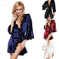 HOT 2017 Women Sexy Lace Nightgown Satin Sleepwear Ladies' Night Lingerie and G-string 30 Silk Robes Sleepwear Women night shirt