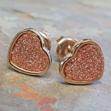 Rose Gold Earrings Stud Post Earrings Glitter Heart