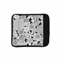 "Julia Grifol ""Welcome White Birds"" Black Floral Luggage Handle Wrap"