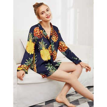 Pineapple Print Tipping Shirt & Shorts Pajama Set