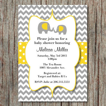 Baby Shower Invites Printable Editable Instant Download Elephant Invitations Yellow Grey Chevron 5x7 - 001