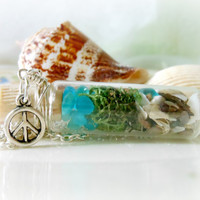 Glass Vial Necklace Bottle Moss Terrarium Seaglass Silver Peace Sign Beach Ocean Lake Michigan Summer