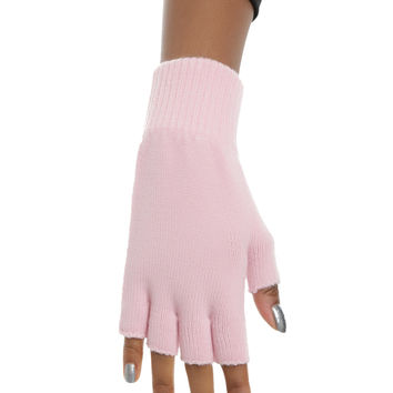 Pastel Pink Fingerless Gloves