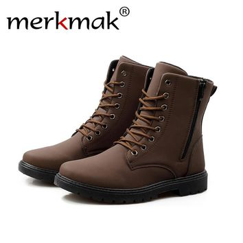 Merkmak British Style Men Boots 2016 Autumn Fur Warm Winter Man Martin Boots Ankle Wedge Fashion Casual High Top Zapatos Hombres