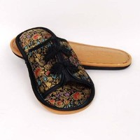 Chinese Brocade Embroidery Slippers Shoes Black