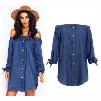 DCCK7XP Butterfly Hot Sale Autumn Stylish Sexy Long Sleeve Denim One Piece Dress