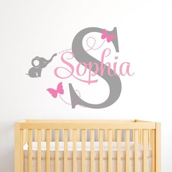 Customize Name Elephant Butterfly Wall Stickers For Kids Room Personalized Girls Boys Bedroom Nursery Wall Art Wall Decals JW007
