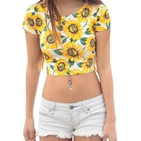 Women's Sexy Slim Floral Midriff Baring Crop Top Belly T Shirt