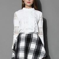 Flower Lace Paneled White Top White