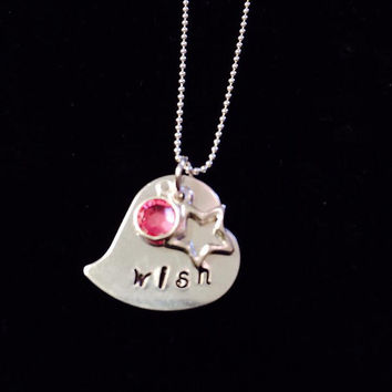 "Tickle Bug Kidz: Aluminum heart-shaped ""WISH"" birthstone pendant with 18"" sterling silver ball chain."