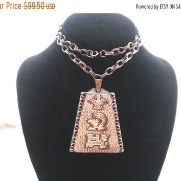 ON SALE Aztec Style Pendant Necklace * Vintage Dragon Eagle Jewelry