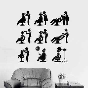 Vinyl Wall Decal Hair Beauty Salon Hairdresser Barbershop Stylist Stickers Unique Gift (100ig)