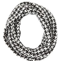 Knit Houndstooth Infinity Scarf by Charlotte Russe - Black Combo