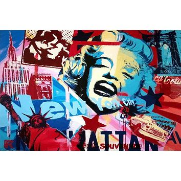 MARILYN MONROE MONTAGE poster pop ART colorful EMPIRE state building 24X36