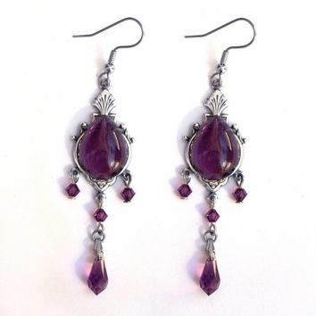 Purple Swarovski Earrings Long Dangle Earrings Amethyst Purple Earrings  Dangle Long Earrings Victorian Jewelry Goth Jewelry dfcf6e12a