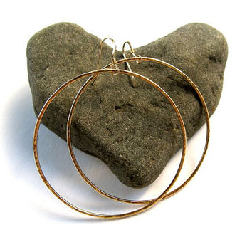 Big Hoop Earrings, Large Hammered Hoops, 14k Gold Fill, Simple Hoops, Gift for Her, Handmade