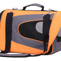 Soft Sided Pet Travel Carrier For Dogs, Cats & Birds - Orange Color