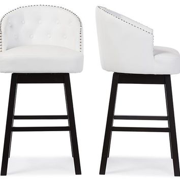 Baxton Studio Avril Modern and Contemporary White Faux Leather Tufted Swivel Barstool with Nail heads Trim Set of 2