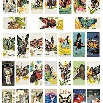 vintage art nouveau deco butterfly fairy fairies ILLUSTRATIONS clip art digital download collage sheet 1 x 2 inch domino tile size