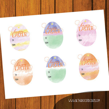 Easter Labels / Easter Gift Tag / Happy Easter / Egg Shaped Gift Tags / Instant download / Easter Bunny / Happy Easter