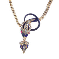 Oversized Victorian Snake Motif Diamond, Enamel and Ruby Necklace
