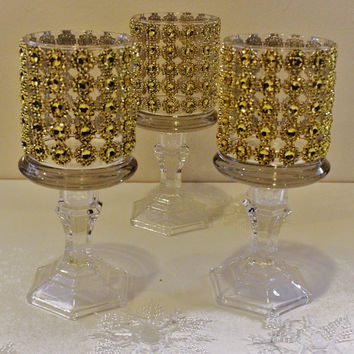 Set of 10 tall glass candle holder wedding centerpiece ,Bling candle holder ,Tall Rhinestone candle holders ,Gold Bling tall candle holder