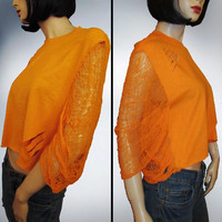 Hand Shredded Orange Crop Top OOAK  By Rebeltude