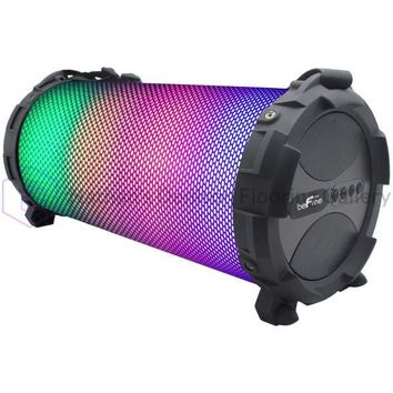 beFree Bluetooth Portable Speaker With Sound Reactive LED Lights, Built-in Rechargeable Battery and Attached Carying Shoulder Strap for Easy Transporting