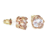 Cubic Zirconia Gold Crown Stud Earrings