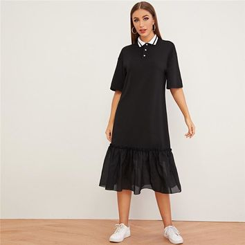 Black Half Placket Drop Ruffle Hem Tunic Dress Women Drop Waist Turn-down Collar Casual Straight Solid Dresses