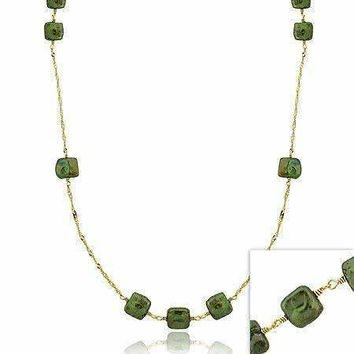 18K Gold over Sterling Silver Freshwater Cultured Green Square Coin Pearl Chain Necklace
