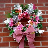 """Cemetery Floral Memorial Remembrance Wreath - """"Cherished Memories"""", Wreath, Pink floral stems, Personalized, Cemetery Flowers, Christmas"""