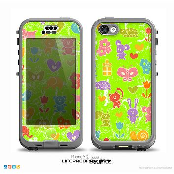 The Furry Fun-Colored Critters Pattern on Green Skin for the iPhone 5c nüüd LifeProof Case