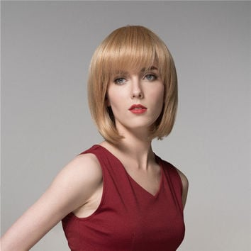 Short Charming Human Hair Wig Virgin Remy Mono Top Capless Side Bang Women 8 Colors