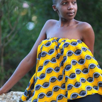 African Print  Off Shoulder Cape Top -Yellow/Black Tribal Print